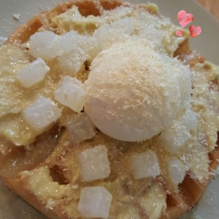 durian paste waffle with coconut ice cream and nata de coco -  Tiong Bahru / 新利合記 (Tiong Bahru)|Singapore