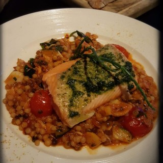 44 Degree Slow-Cooked Akaroa King Salmon, Braised Sardinian Fregola with Scallop, Crabmeat & Seafood Broth - 位於銅鑼灣的Penthouse (銅鑼灣) | 香港