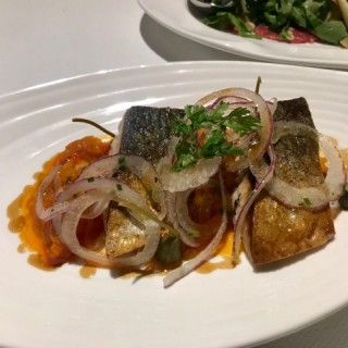 Pan-fried Hokkaido Mackerel with Piperade, red onion and Capers flower  - ใน จากร้านLocanda dell' Angelo (跑馬地)|ฮ่องกง