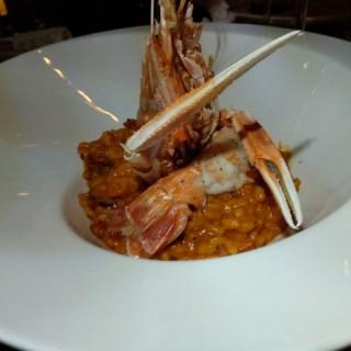 香煎紐西蘭深海海螯蝦,配西班牙辣肉腸蕃茄意大利飯 - ใน銅鑼灣 จากร้านE Molto Buono (銅鑼灣)|ฮ่องกง