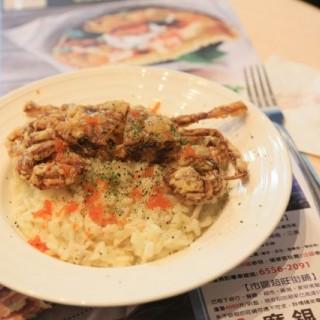 白酒忌廉汁意大利飯 – 配酥炸軟殼蟹 -  dari Paddington House of Pancakes (新馬路) di 新馬路 |Macau